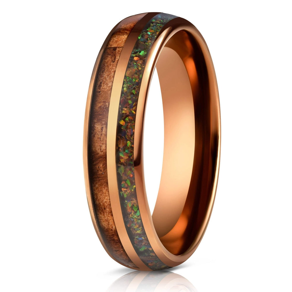 """Dionysis"" Womens Tungsten Carbide Ring- Smoked Rose Gold X Rasta Opal- 5mm-Rings By Lux"