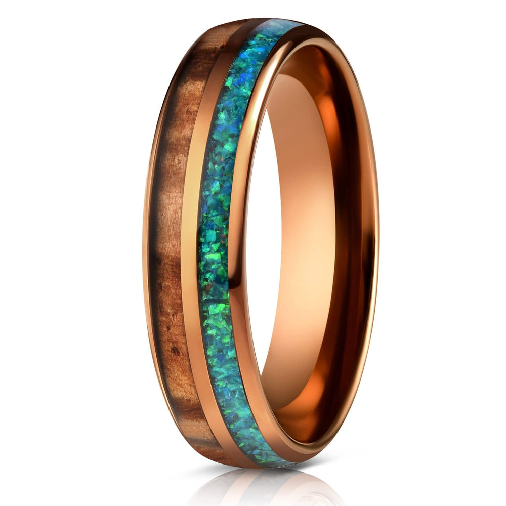"""Dionysis"" Womens Tungsten Carbide Ring- Smoked Rose Gold X Blue/Green Opal- 5mm-Rings By Lux"