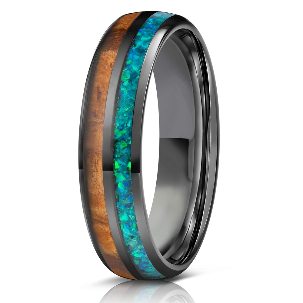 """Dionysis"" Womens Tungsten Carbide Ring- Gunmetal X Blue/Green Opal- 5mm-Rings By Lux"