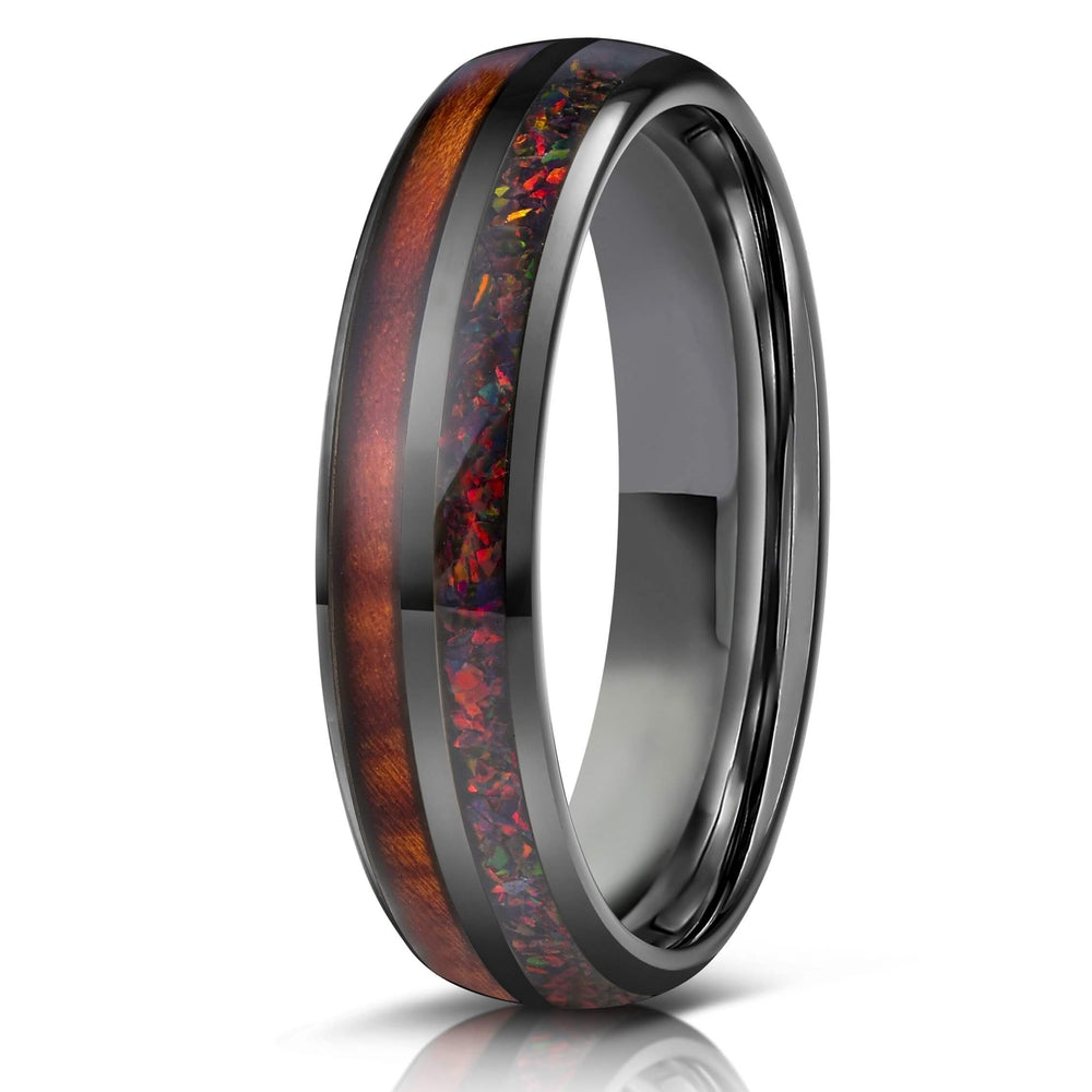 """Dionysis"" Womens Tungsten Carbide Ring- Gunmetal X Black Opal- 5mm-Rings By Lux"