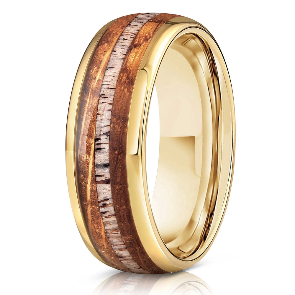 """Dionysus"" Whisky Barrel Wood x Antler Ring- Yellow Gold Tungsten-Rings By Lux"