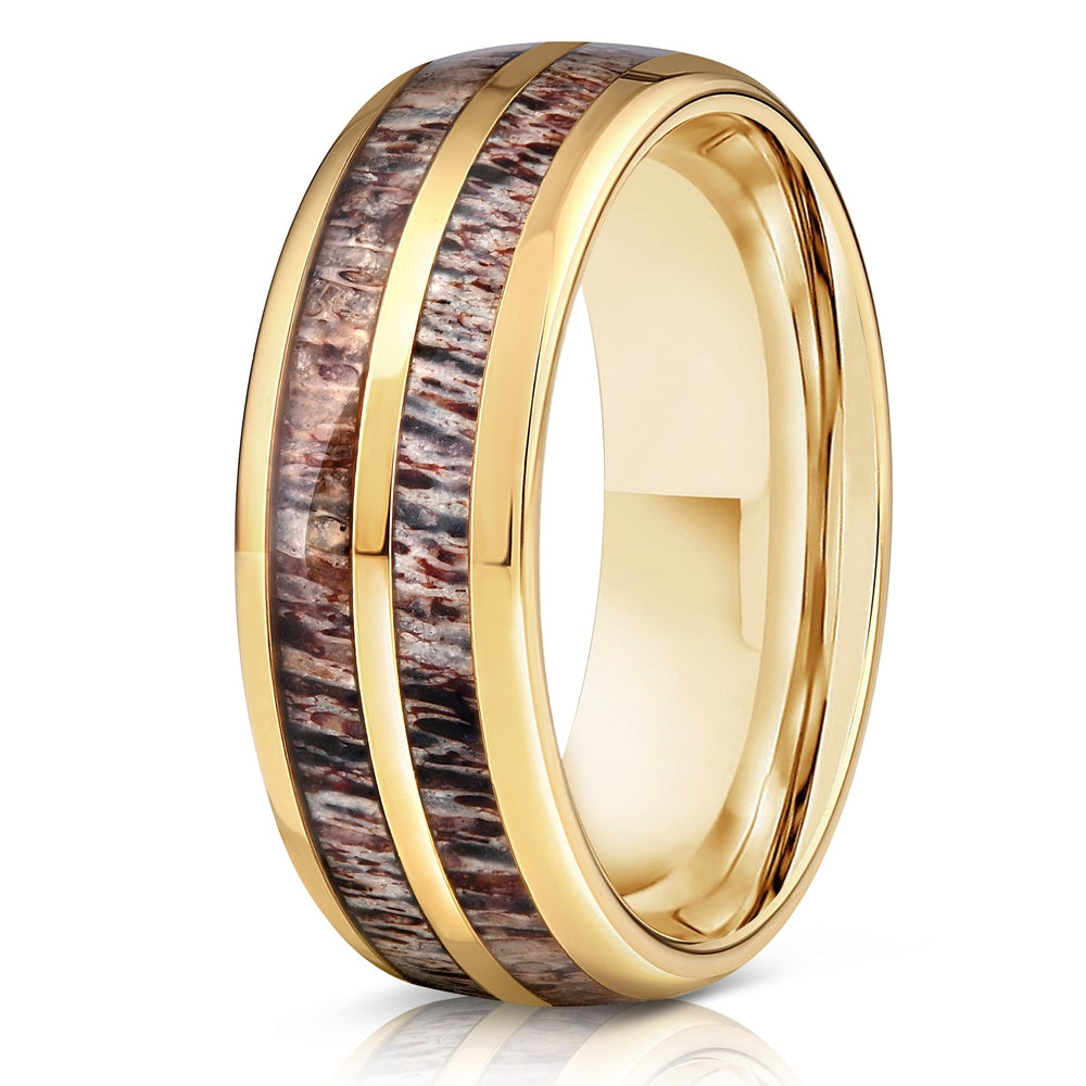 """Dionysus"" Double Barrel Naturally Shed Antler Yellow Gold Tungsten Ring- Domed-Rings By Lux"