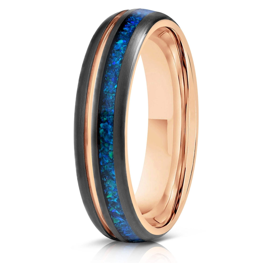 """Dionysis"" Womens Tungsten Carbide Ring- Rose Gold X Blue Opal- 5mm-Rings By Lux"