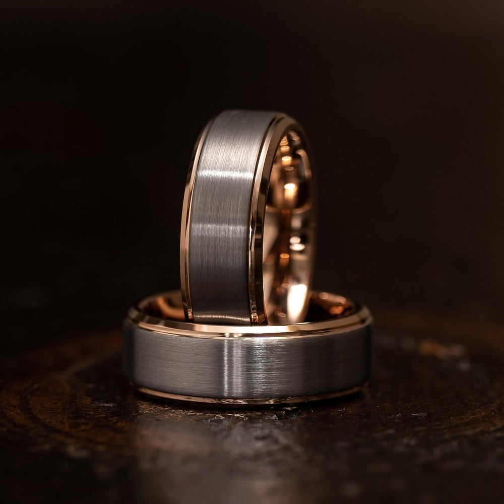 """Apollo"" Tungsten Carbide Ring- White Gold w/ Rose Gold Strip- 8mm-Rings By Lux"