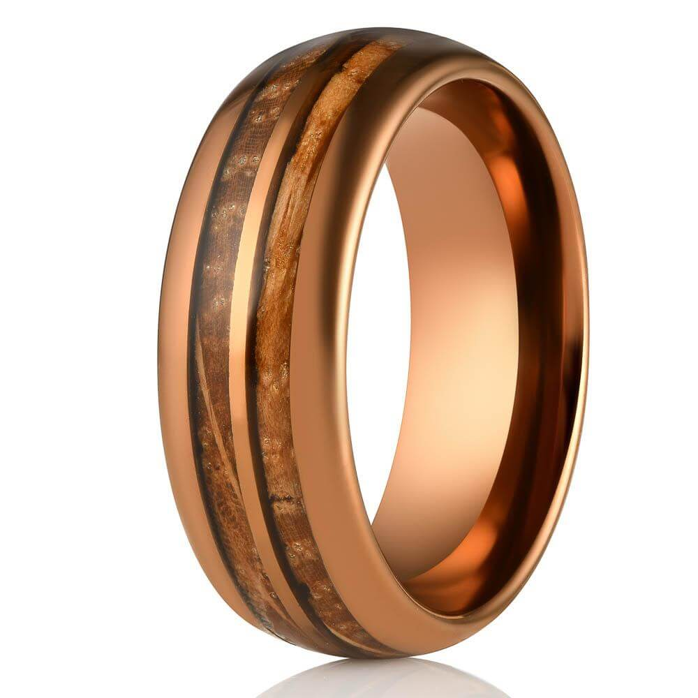 """Dionysus"" Whisky Double Barrel Rose Gold Tungsten Ring-Rings By Lux"