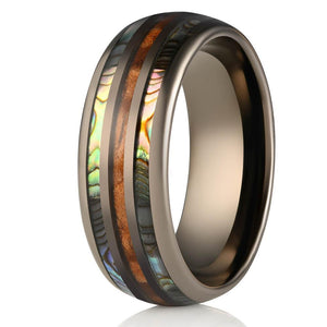 """Dionysus""  Whisky Barrel x Double Abalone Shell Gunmetal Ring"