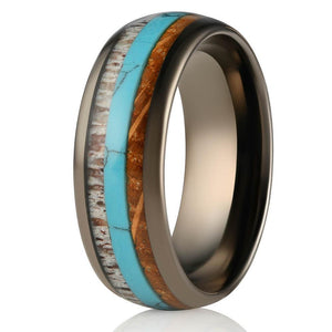 """Dionysus""  Whisky Barrel x Turquoise x Naturally Shed Antler Gunmetal Ring- Domed"