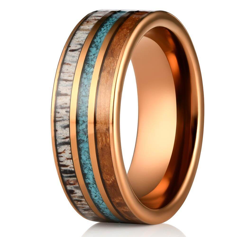 """Dionysus"" Whisky Barrel x Turquoise x Naturally Shed Antler Rose Gold Ring- Flat-Rings By Lux"