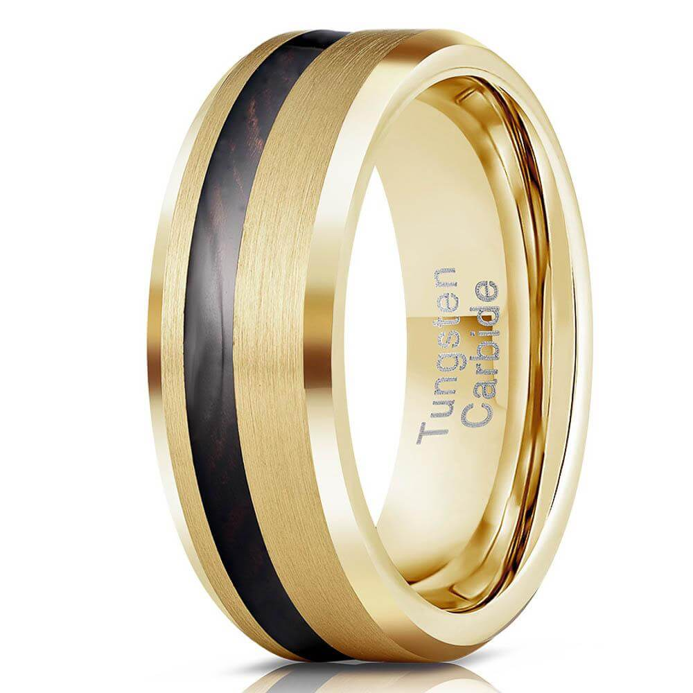 """Artemis"" Wenge Wood x Yellow Gold Tungsten Ring-Rings By Lux"