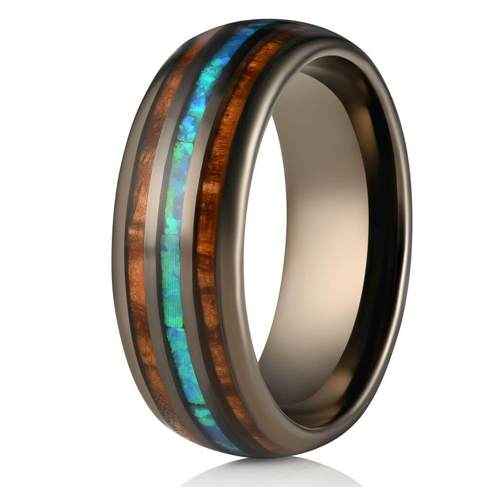 """Dionysus"" Whisky Barrel x Blue Opal Gunmetal Tungsten Ring-Rings By Lux"