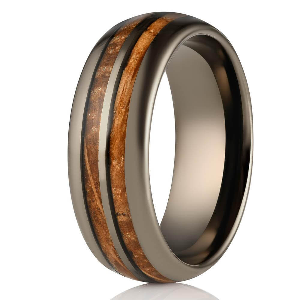 """Dionysus"" Whisky Double Barrel Gunmetal Tungsten Ring-Rings By Lux"