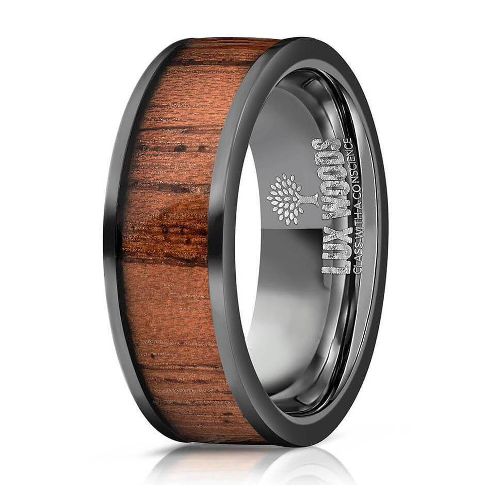 """Apollo"" Black Sapele Wood Inlay Ring-Rings By Lux"