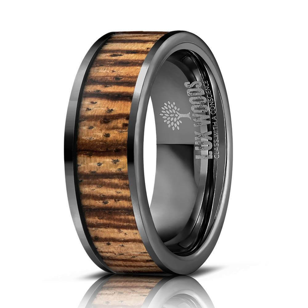 """Apollo"" Gunmetal Tungsten Zebrawood Inlay Ring-Rings By Lux"