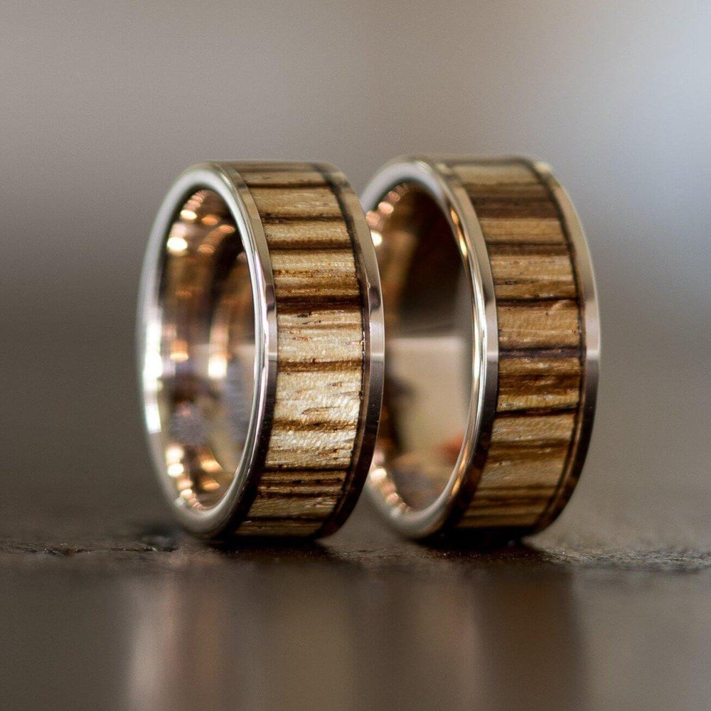"""Apollo"" Rose Gold Zebrawood Inlay Ring-Rings By Lux"