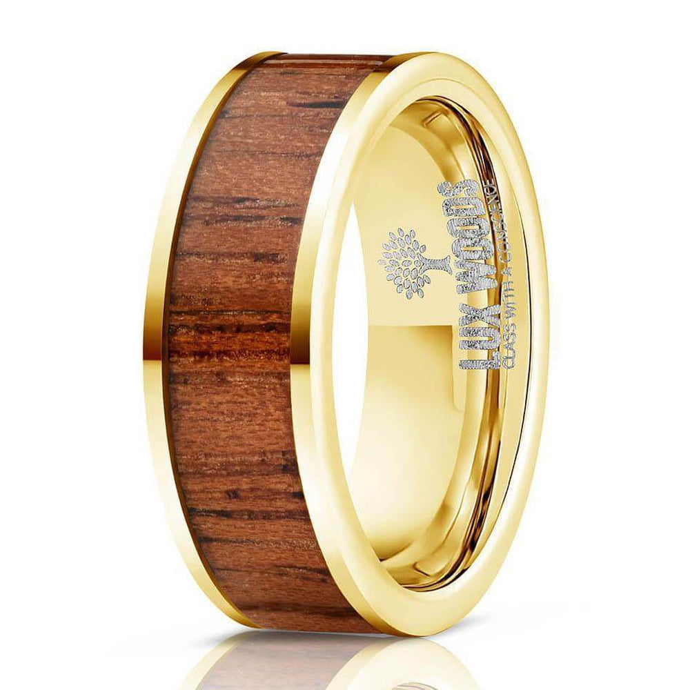"""Apollo"" Yellow Gold Sapele Wood Inlay Ring-Rings By Lux"