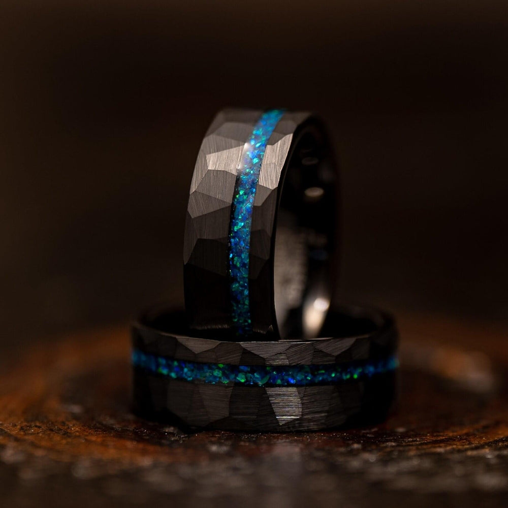 """Zeus"" Hammered Tungsten Carbide Ring- Black w/ Blue Opal Strip- 8mm-Rings By Lux"