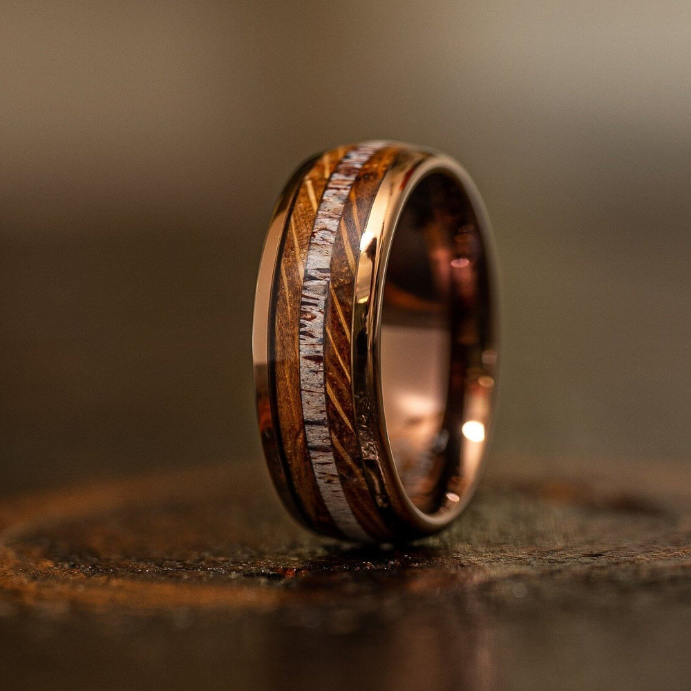"""Dionysus"" Whisky Barrel Wood x Antler Ring- Rose Gold Tungsten-Rings By Lux"