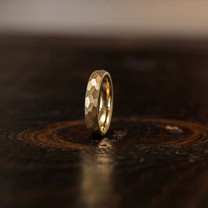 """Zeus"" Womens Hammered Tungsten Carbide Ring- Yellow Gold Plate- 4mm"