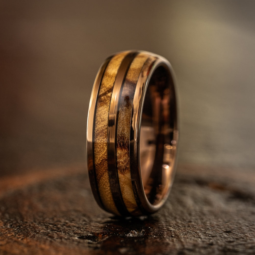 """Dionysus"" Olive Wood Double Barrel Rose Gold Tungsten Ring-Rings By Lux"