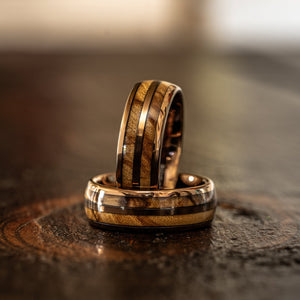 """Dionysus""  Olive Wood Double Barrel Rose Gold Tungsten Ring"