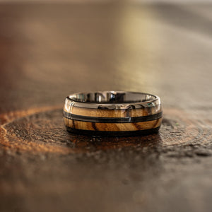 """Dionysus""  Olive Wood Double Barrel Gunmetal Tungsten Ring"