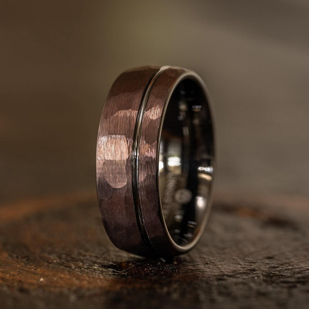 """Zeus"" Hammered Tungsten Carbide Ring- Coffee with Gunmetal-Rings By Lux"