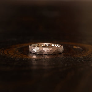 """Zeus"" Womens Hammered Tungsten Carbide Ring- Rose Gold Plate- 4mm"