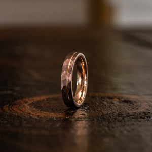 """Zeus"" Womens Hammered Tungsten Carbide Ring- Chocolate w/ Rose Gold Strip- 4mm"