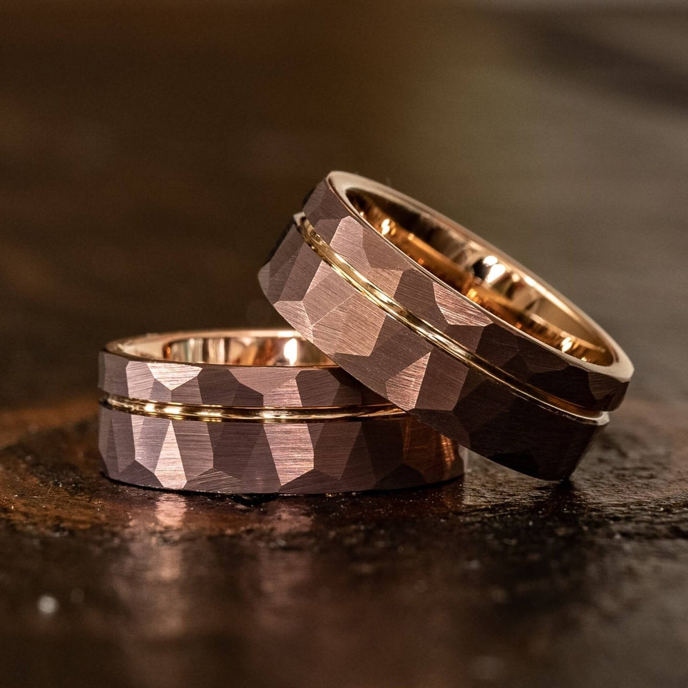 """Zeus"" Hammered Tungsten Carbide Ring- Coffee with Rose Gold-Rings By Lux"