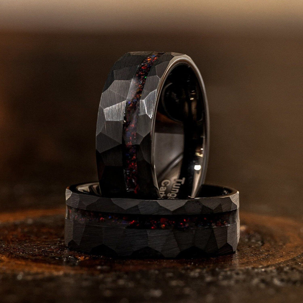 """Zeus"" Hammered Tungsten Carbide Ring- Black w/ Black Opal Strip- 8mm-Rings By Lux"