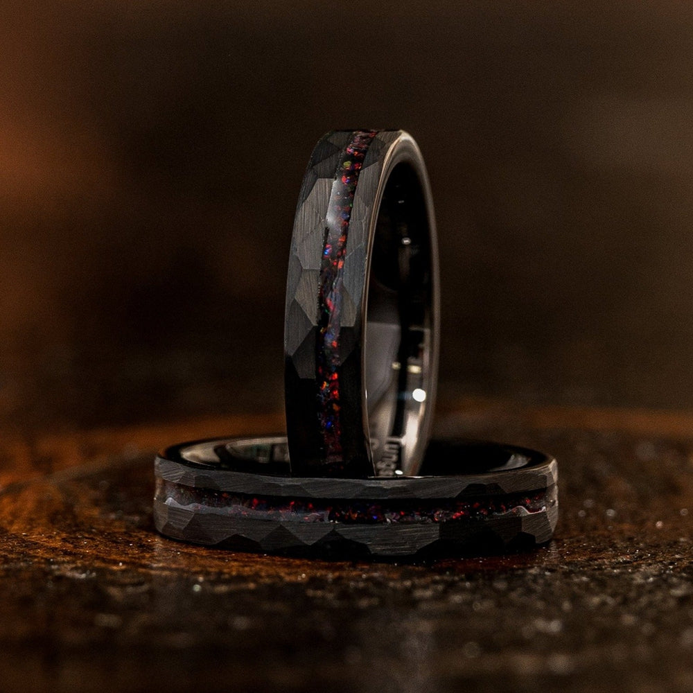 """Zeus"" Womens Hammered Tungsten Carbide Ring- Black w/ Black Opal Strip- 4mm-Rings By Lux"