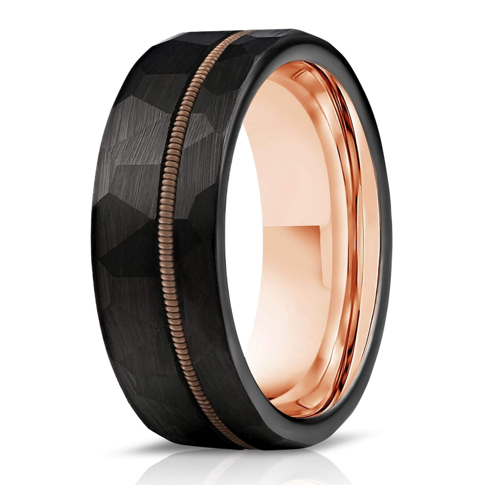 """Zeus"" Hammered Guitar String Ring- Black with Guitar String-Rings By Lux"