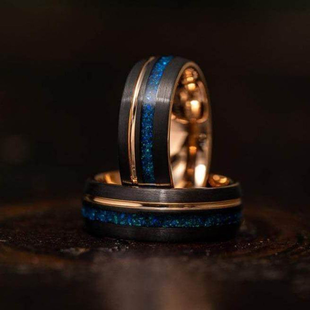 """Dionysus"" Black x Blue Opal Rose Gold Tungsten Ring-Rings By Lux"