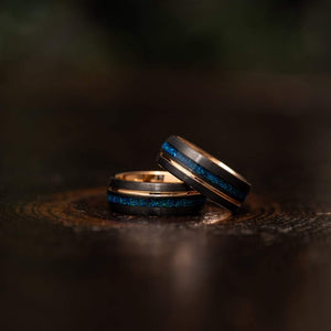 """Dionysus""  Black x Blue Opal Rose Gold Tungsten Ring"