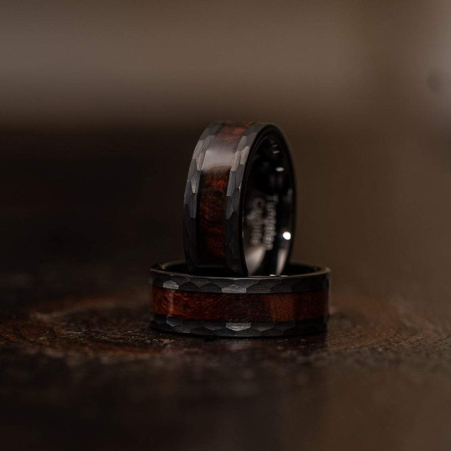 """Zeus"" Hammered Tungsten Carbide Ring- Black with Snake Wood"