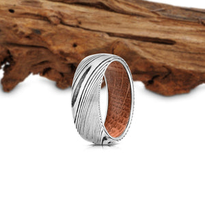 """Poseidon"" Brushed Damascus Steel Wood Inlay Ring Wood Ring Rings By Lux"