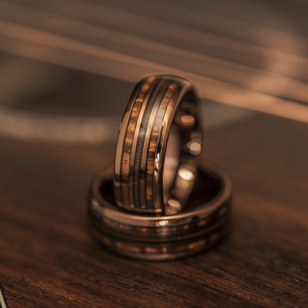 """Dionysus"" Hawaiian Koa Wood x Guitar String Ring- Rose Gold Tungsten-Rings By Lux"