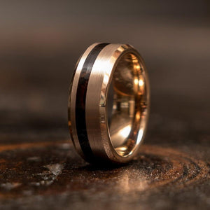 """Artemis""  Wenge Wood x Rose Gold Tungsten Ring-"