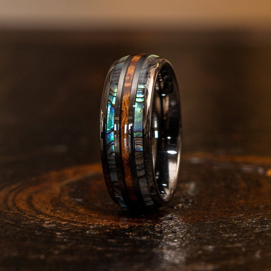 """Dionysus""  Whisky Barrel x Double Abalone Shell Gunmetal Tungsten Ring"