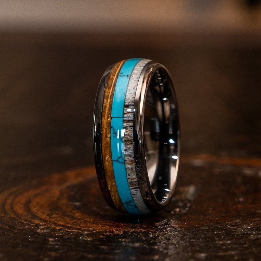 """Dionysus""  Whisky Barrel x Turquoise x Naturally Shed Antler Gunmetal Tungsten Ring- Domed"