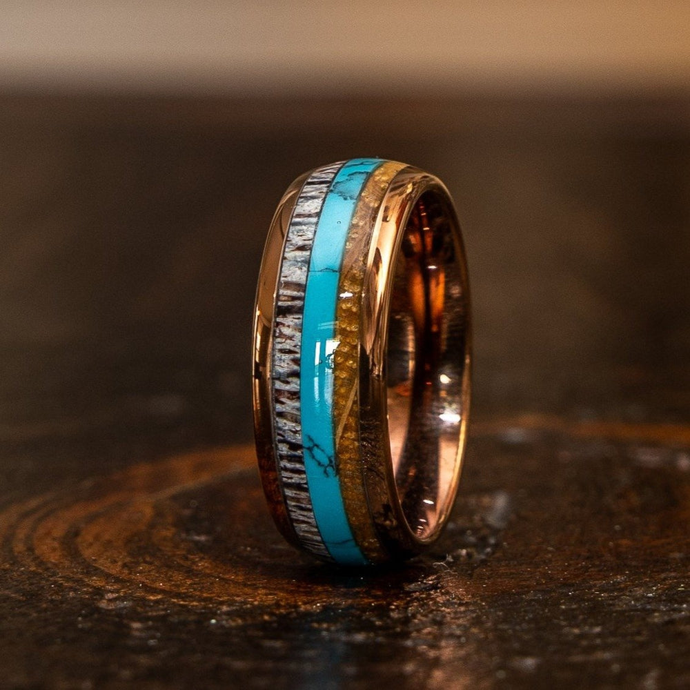 """Dionysus"" Whisky Barrel x Turquoise x Naturally Shed Antler Rose Gold Ring- Domed-Rings By Lux"