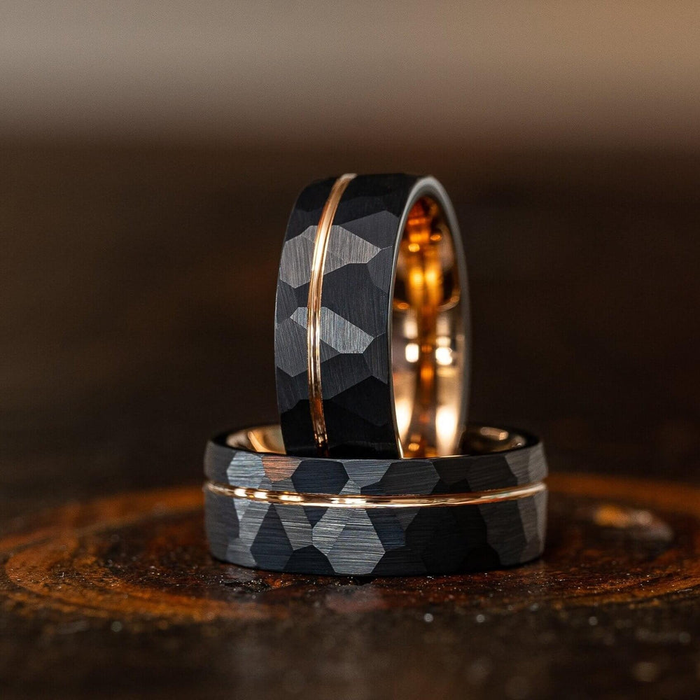 """Zeus"" Hammered Tungsten Carbide Ring- Black w/ Rose Gold Strip- 8mm-Rings By Lux"