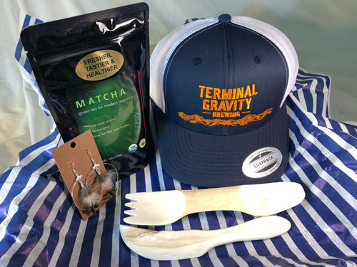 terminal gravity, trucker hat, logo hat, sei mee tea, green tea, matcha, feather earrings, free range boutique, spork, hand-carved wood, wooden utensils