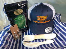 Load image into Gallery viewer, terminal gravity, trucker hat, logo hat, sei mee tea, green tea, matcha, feather earrings, free range boutique, spork, hand-carved wood, wooden utensils