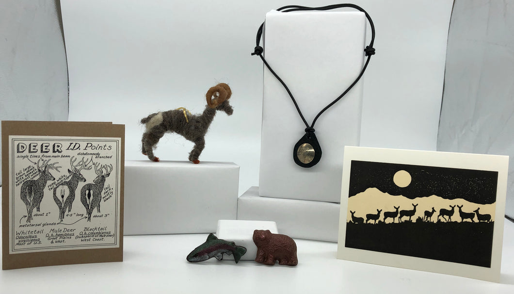 gift box, gift for her, gift for him, deer, bighorn sheep, arrowhead chocolate