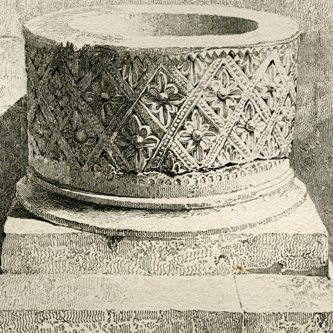 The Norman baptismal font in St. Bartholomew's, Greens Norton, Northamptonshire, England. Engraved by R. Roberts.