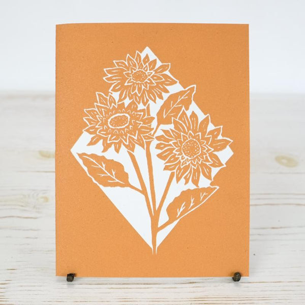 Sunflower Letterpress Card Greeting Card Papillon Press