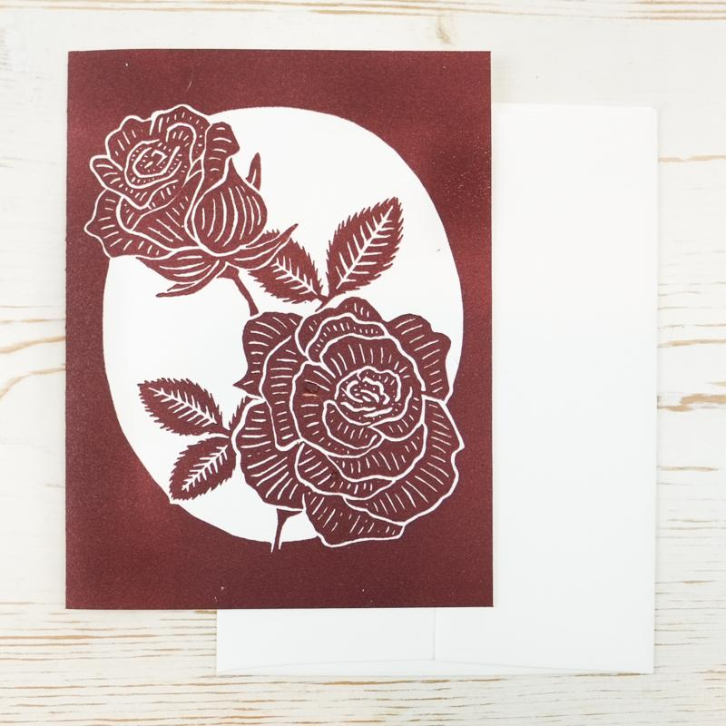 Rose Letterpress Card Greeting Card Papillon Press