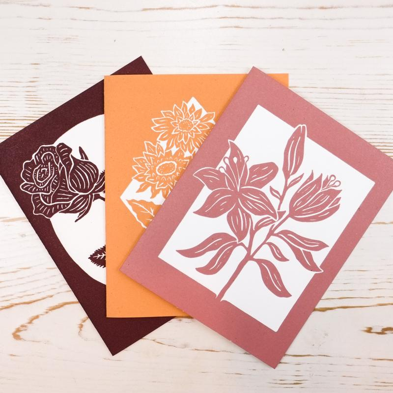 Floral Letterpress Greeting Cards Box Set Greeting Card Papillon Press