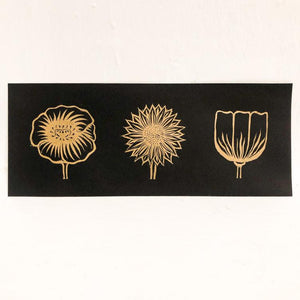Flower Trio Print: Black and Gold Art Print Papillon Press